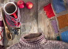 Winter composition with a mug of hot mulled wine Stock Images
