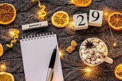 Winter composition. Wooden calendar January 29th Cup of cocoa with marshmallow, empty open notepad with pen, dried oranges, light. Garland on grey knitted stock images
