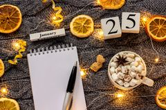 Winter composition. Wooden calendar January 25th Cup of cocoa with marshmallow, empty open notepad with pen, dried oranges, light. Garland on grey knitted stock images