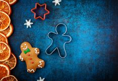 Winter concept with Christmas cookies royalty free stock photography