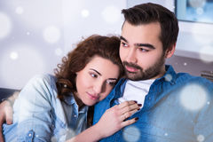 Winter concept - cute young woman lying on shoulder of her boyfr Royalty Free Stock Photos
