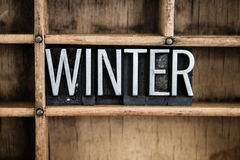 Winter Concept Metal Letterpress Word in Drawer Royalty Free Stock Photography