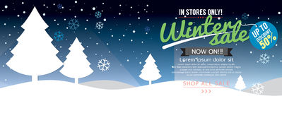 Winter Concept 6230x255 pixel Sale Up To 50 Percent Template. Winter Concept 6230x255 pixel Sale Up To 50 Percent Template Vector Illustration Stock Photos