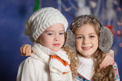 Winter concept: portrait of happy kids Royalty Free Stock Photos