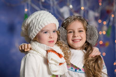 Winter concept: portrait of happy kids Royalty Free Stock Images