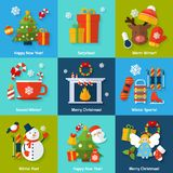 Winter concept set. Winter and christmas concept set with happy new year surprise sports and fun elements isolated vector illustration Royalty Free Stock Photos