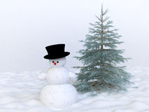 Winter Concept With Snowman And Pine Tree Royalty Free Stock Image