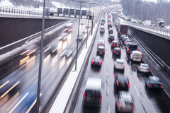 Winter conditions on highway Stock Image