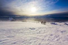 Winter Conditions in Rugged Alpine Terrain Royalty Free Stock Photography