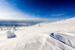 Winter Conditions in Rugged Alpine Terrain stock images