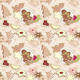 Winter cookies pattern. Winter cookies seamless pattern with Gingerbread and other cookies Royalty Free Stock Image