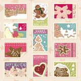 Winter cookies postage stamps. Set of winter postage stamps with various winter cookies Royalty Free Stock Images