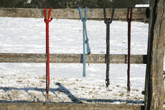 Winter corral fenced with equestrian equipment. Rural scene winter pinfold with colored horse equipment as a background Royalty Free Stock Photo