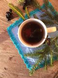 Delicious warm tea in winter background royalty free stock photo