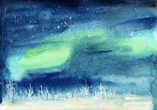 Winter cosmic landscape watercolor Royalty Free Stock Image