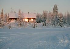 Winter cottage stock image