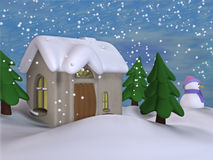 The Winter Cottage 2. A little toon scene with falling snow Stock Photos