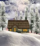 Winter cottage. Lovely winter cottage with snow and forest Royalty Free Stock Photos