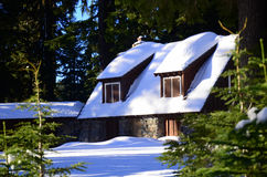 Winter cottage at Crater Lake Visitor Center Oregon Royalty Free Stock Image