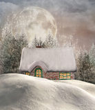 Winter cottage. Enchanted chalet in a winter forest royalty free illustration