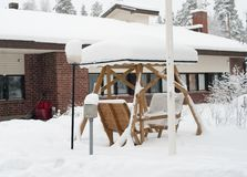 Winter cottage and pergola  in Finland Stock Photos