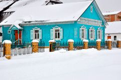 Winter cottage in the village Stock Image