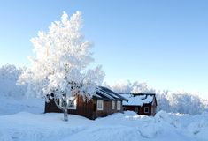 Winter cottages Stock Photography