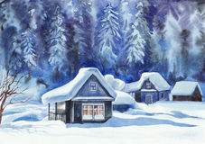 Winter cottages Stock Image