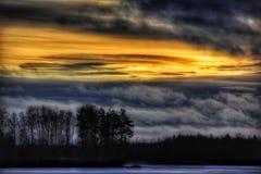 Winter coucher du soleil de glace de lac dehors photos stock