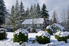 Winter country home Stock Image