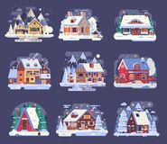 Winter Country House and Cabin Set royalty free illustration