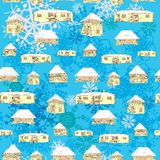 Winter country houses pattern Stock Photo