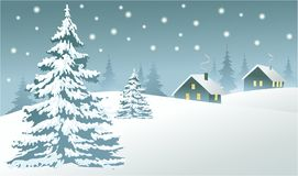 Winter country landscape. Rural winter landscape with Christmas trees Royalty Free Stock Photo