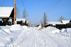 Winter country landscape in Siberia stock image