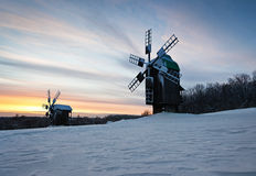 Winter country landscape at sunset Stock Photography