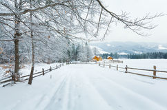 Winter country mountain landscape Stock Photos