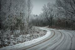 Winter country road with car. Winter, the car drives along the country road, the day without sun Royalty Free Stock Image