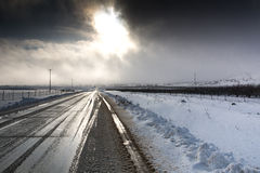 Winter country road. Frozen with tracks Royalty Free Stock Photography