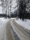 Winter country road in Moscow region Royalty Free Stock Photo