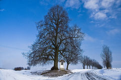 Winter country road with a village chappel. Rural road with a village chapel in the middle of winter. Frost covers the branches of tree Royalty Free Stock Photos