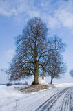 Winter country road with a village chappel. Rural road with a village chapel in the middle of winter. Frost covers the branches of tree Stock Photo