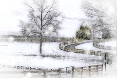 Winter Country Snowstorm - Horse Farm Stock Photo