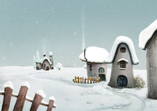 Winter country village. Fairy landscape Stock Photography