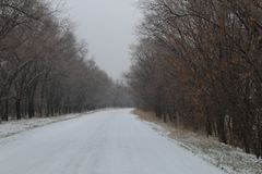 Winter countryside icy road Stock Photos
