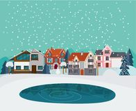 Winter Countryside Landscape Flat Template. With suburban houses cottages trees pond and snow vector illustration Royalty Free Stock Photo