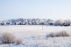 Winter countryside. Winter landscape of Russian countryside Royalty Free Stock Photo