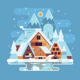 Winter Countryside Lanscape stock illustration
