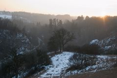 Winter countryside panorama wit tree silhouette in sunset Royalty Free Stock Photography