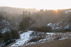 Winter countryside panorama wit tree silhouette in sunset Stock Photo