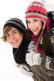 Winter couple Stock Photos